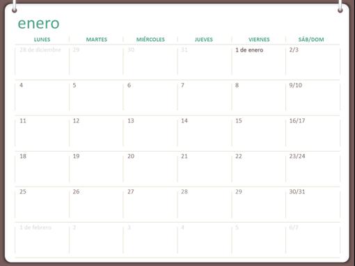 Calendario de 2018 (de lunes a domingo, diseño con dos anillas)