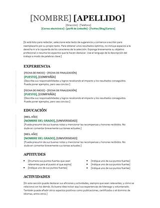 Currículo cronológico (diseño moderno)