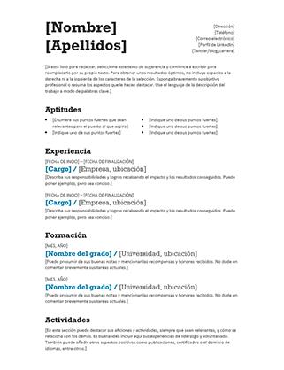 Currículo mixto (diseño moderno)