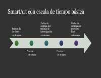 Diapositiva de diagrama de SmartArt con escala de tiempo (blanco sobre gris oscuro, pantalla panorámica)