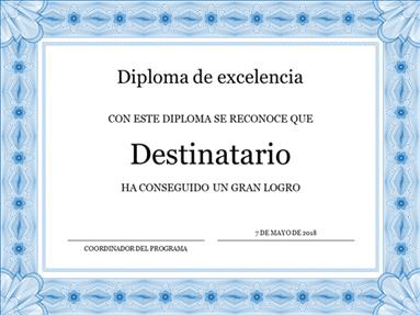 Certificado académico (borde azul formal)
