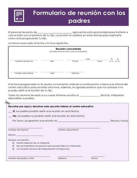 Formulario de conferencia de padres