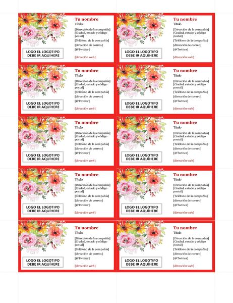 Tarjetas de presentación florales retro
