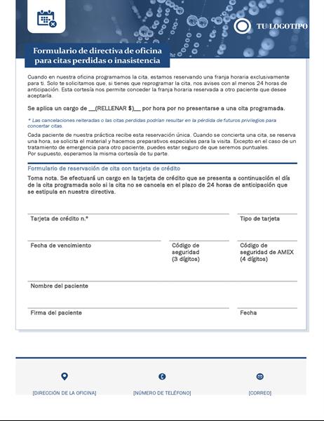 Formulario de cuota de inasistencia en centro de atención médica