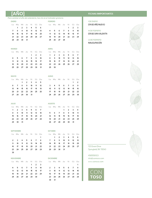 Calendario para pequeñas empresas (cualquier año, de lunes a domingo)