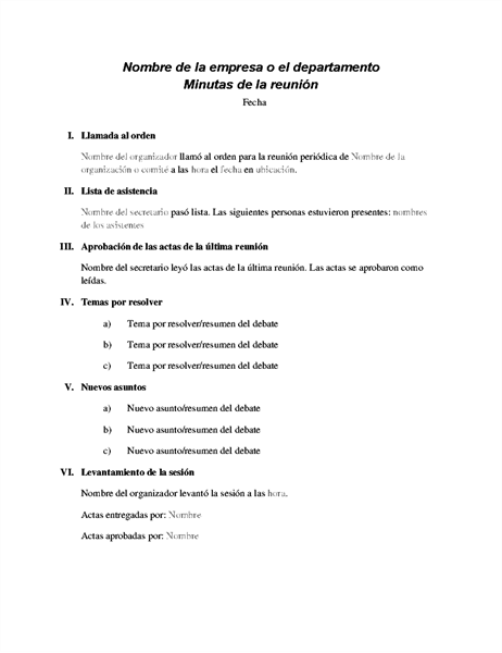 Información básica de reunión formal