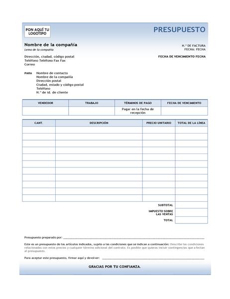 Presupuesto de servicio (diseño con degradado azul)
