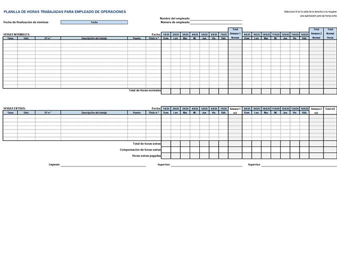 Tarjeta de horas trabajadas de empleados de operaciones