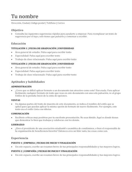 Currículum vítae funcional