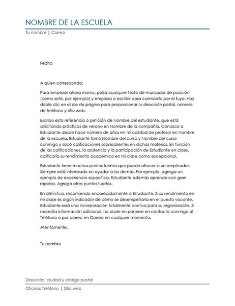 Carta de recomendación de profesor