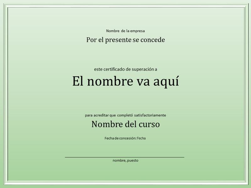 Certificado de superación del curso
