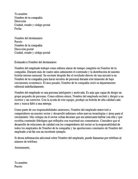 Carta de recomendación de empleado profesional