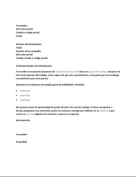 Carta de presentación de ejemplo en respuesta a un anuncio de un puesto de trabajo técnico