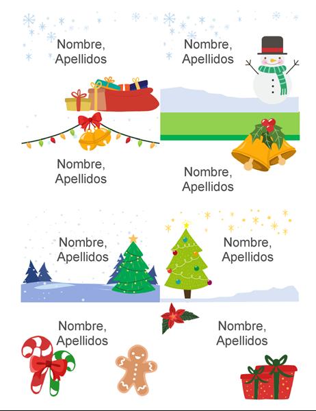 Identificadores para las fiestas (8 por página, diseño Espíritu navideño, para Avery 5395 y similares)