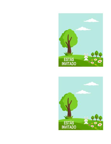 Invitaciones para fiesta de primavera (2 por página, compatible con Avery 5315 y similares)