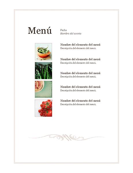 Menú de evento (diseño sencillo)