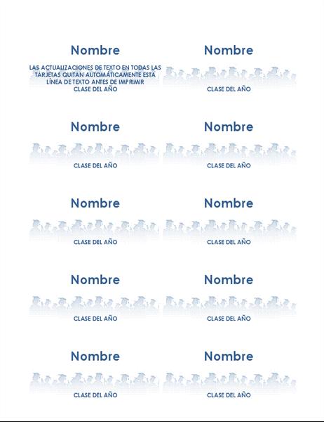 Tarjetas de nombre de graduación (10 por página)
