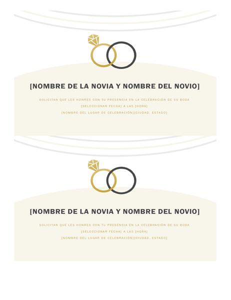 Invitaciones de boda (diseño Decorativo, 2 por página)