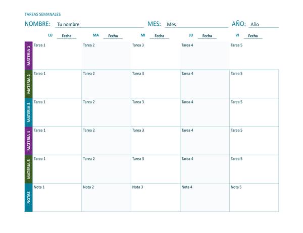 Hoja de tareas semanal (en color, horizontal)