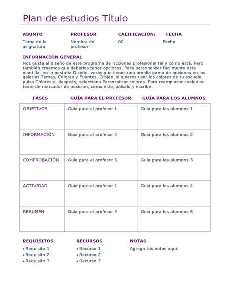 Organizador de clases diario (en color)