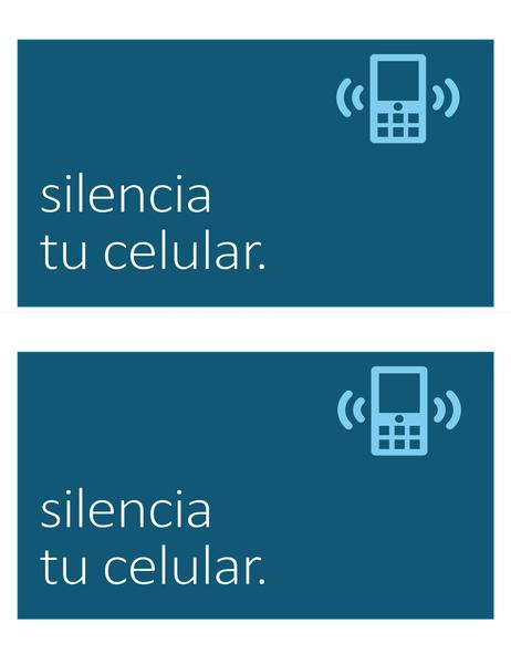 Cartel para prohibir el uso de teléfono celular (2 por página)