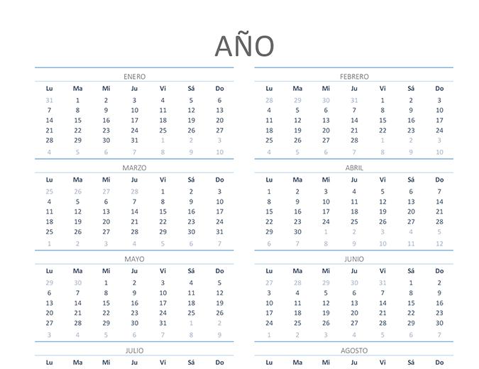 Calendario para cualquier año (de lunes a domingo)
