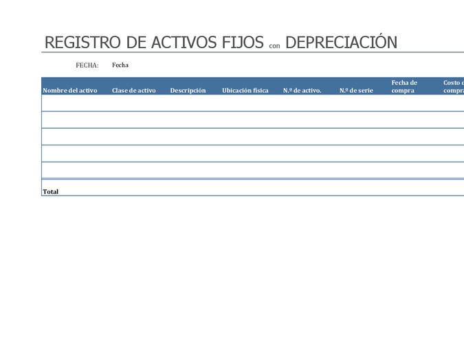 Registro de activos fijos con depreciación