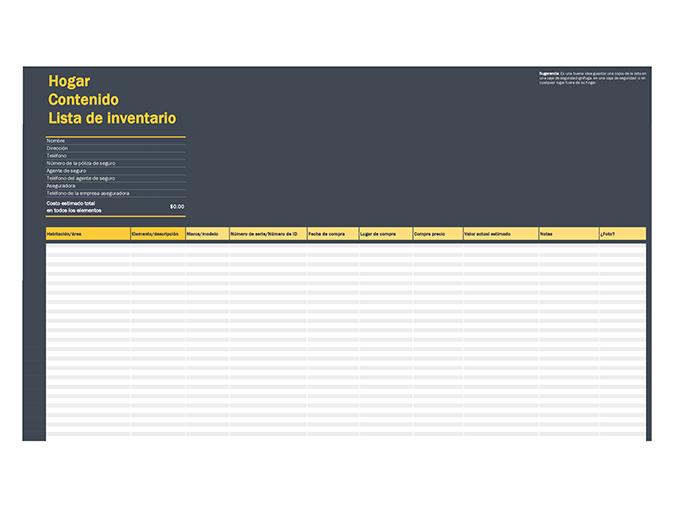 Lista de inventario de contenido de la casa