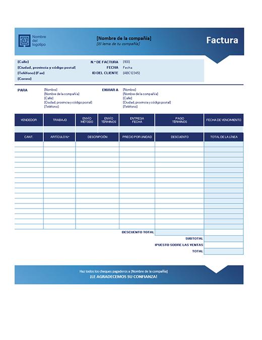 Factura de ventas (diseño de degradado azul)