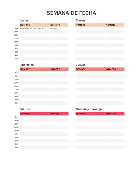 Calendario de citas semanales