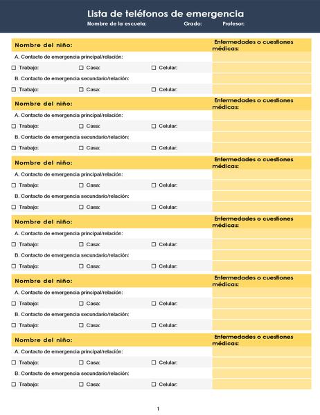 Lista de teléfonos de emergencia de la clase