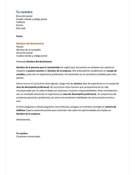 Carta de presentación para currículum vítae funcional