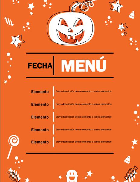 Menú para fiesta de Halloween