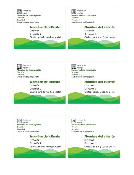 Etiquetas de envío (diseño Onda verde, 6 por página)