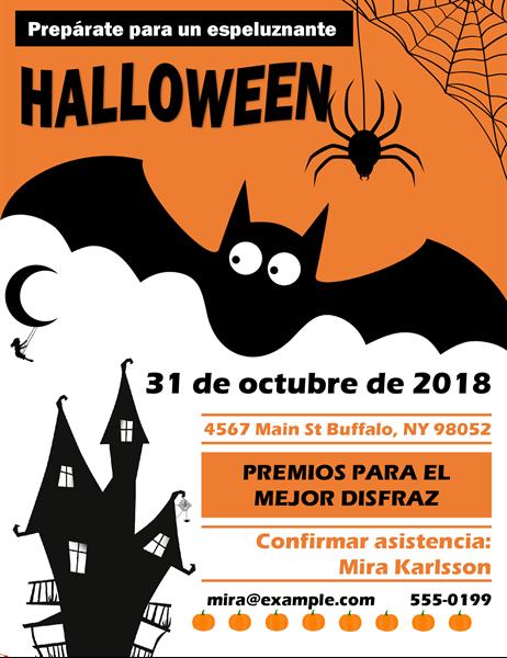 Folleto de fiesta de Halloween con murciélago espeluznante