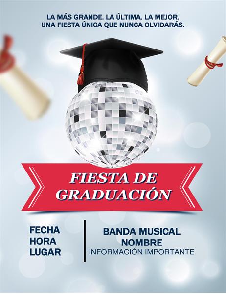 Prospecto de fiesta de graduación con diseño disco