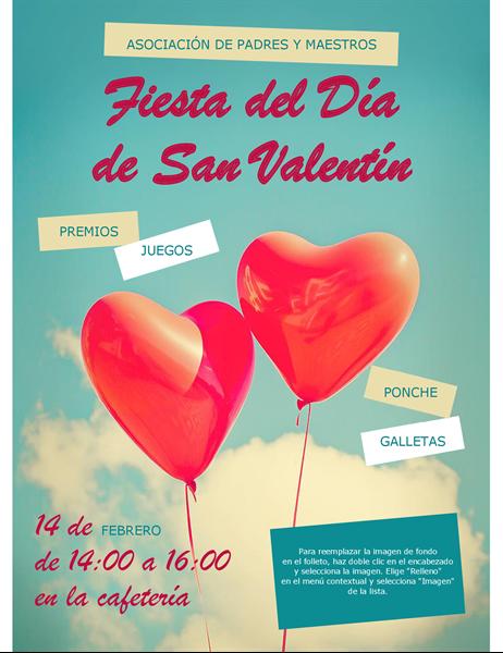 Folleto de San Valentín con globos en forma de corazón