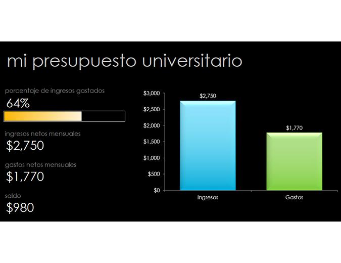 Mi presupuesto para la universidad