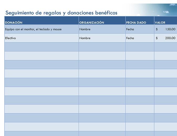 Seguimiento de regalos benéficos y donaciones (simple)