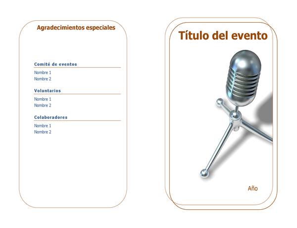 Programa de eventos (plegado a la mitad)
