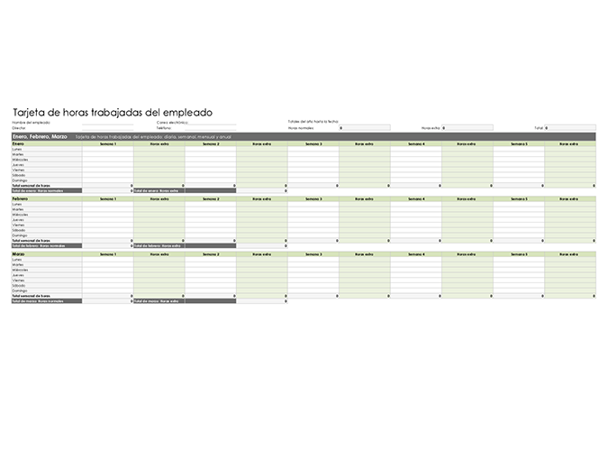 Tarjeta de horas trabajadas del empleado (diaria, semanal, mensual y anual)