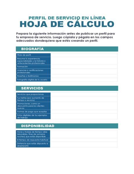 Hoja de cálculo de perfil de servicio en línea
