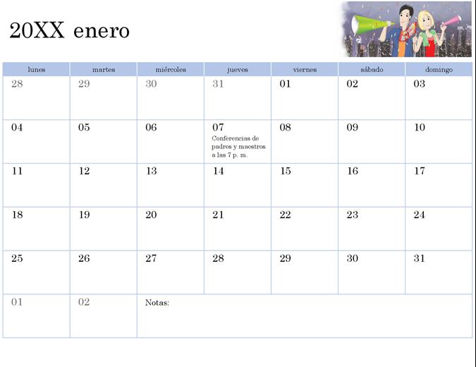 Calendario académico con ilustraciones