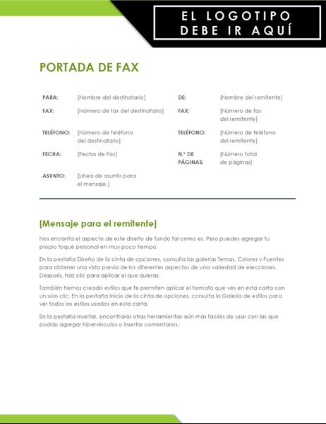 Portada de fax con un logotipo llamativo