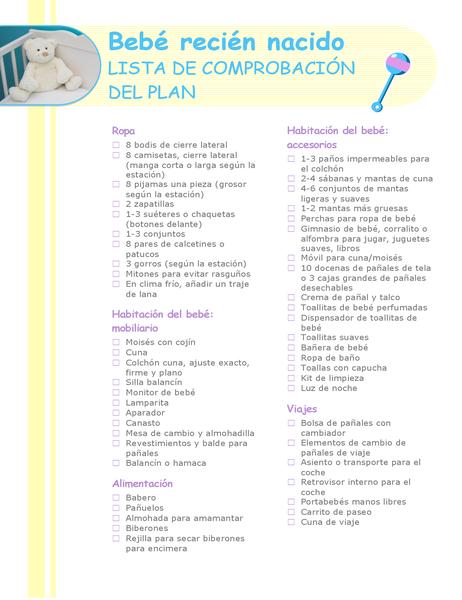 Lista de comprobación de recién nacido