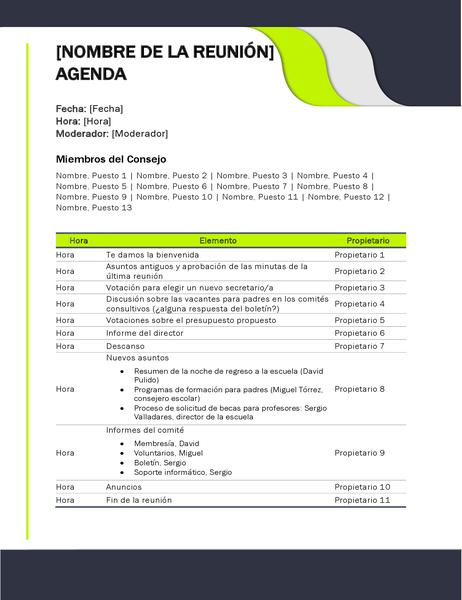 Agenda de reunión escolar