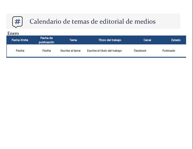 Calendario con tema de publicación en redes sociales