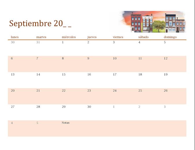 Calendario de cualquier año ilustrado con imágenes estacionales