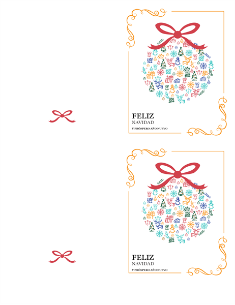 Tarjeta alegre con adornos navideños