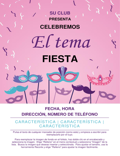 Folleto de evento de disfraces